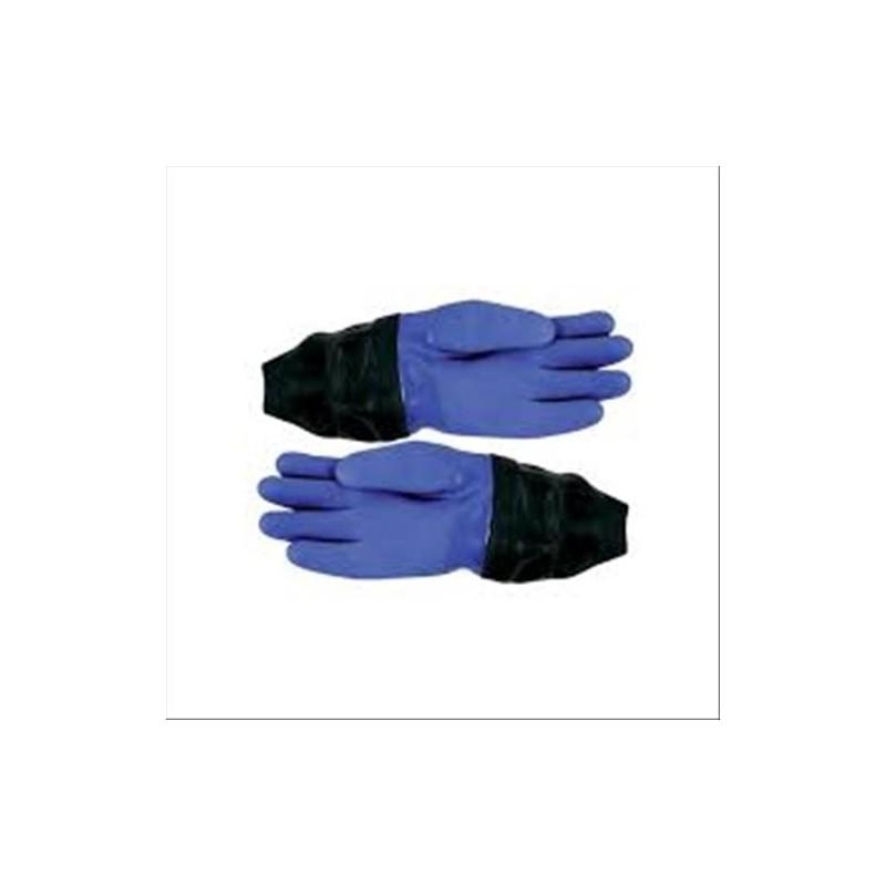 Gants étanches en PVC bleus avec manchon de poignets en latex