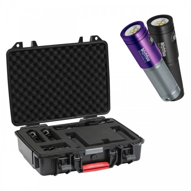 Ensemble complet pour caméra type GoPro : 2x AL1800XWP II, platine avec deux poignées et valise de protection