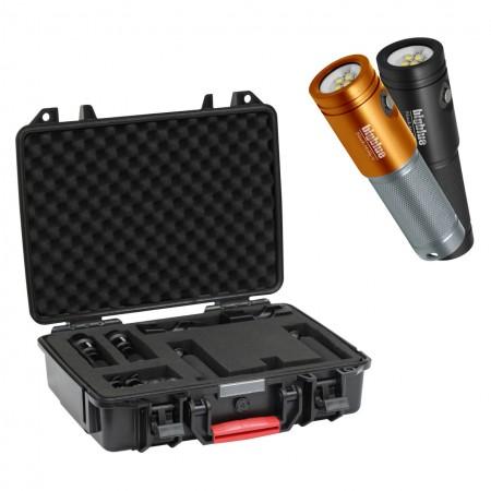 Ensemble complet pour caméra type GoPro : 2x AL2600XWP II platine avec deux poignées et valise de protection