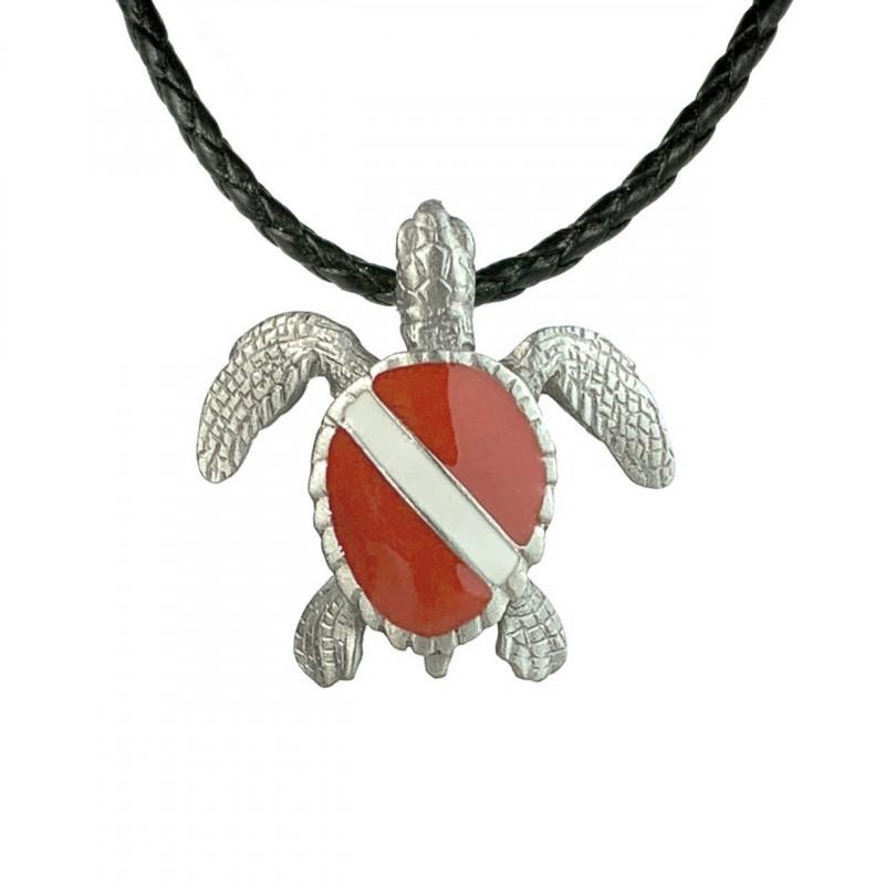 tortue-plongeur-collier-made-in-canada-drapeau-de-plongee